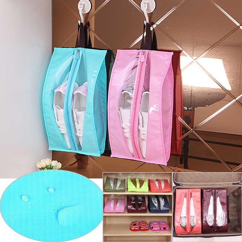 Zapatos portátiles Organizador anti polvo a prueba de agua bolsas de almacenamiento de PVC con cremallera Colgando bolsa Guardar espacio del armario de zapatos Organización Perchas