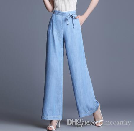 Neue Mode Sommer Tencel Jeans Demale weites Bein Hosen Frauen plus Größe elastische Taille Capris hohe Taille blaue Hose wmq0908