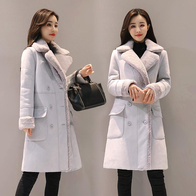 Giacca invernale Harajuku corta coreano Streetwear Tweed velluto a coste Plus Size lungo cappotto lungo Slim agnello velluto Cappotto in cotone