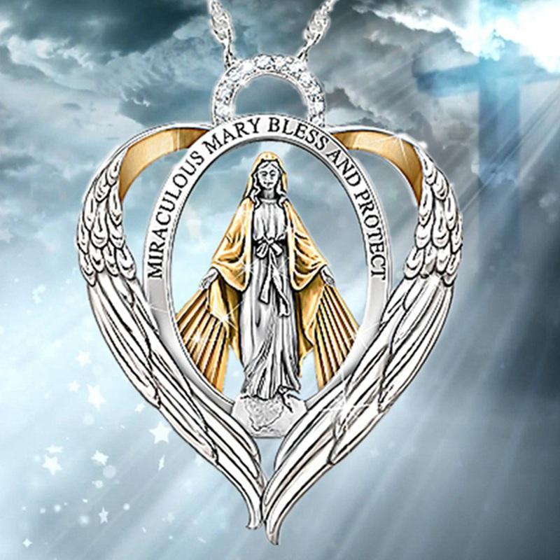 Любовь сердца Крылья Богородица алфавит Сердце ожерелье мода религиозный стиль леди ожерелье
