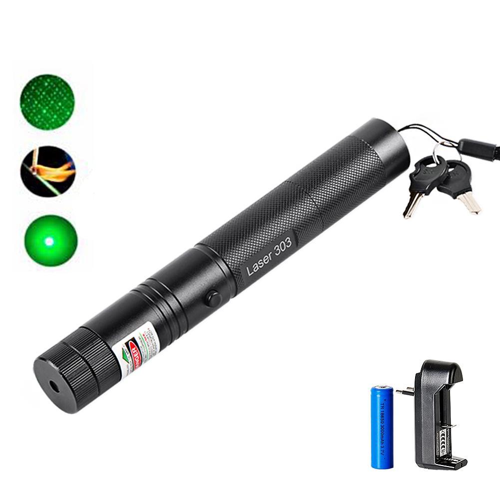 5mW Lazer Pointer Yüksek Güç 532nm 303 Yeşil Lazer Pointer Kalem Ayarlanabilir Yanan Maç ile şarj edilebilir 18650 Pil