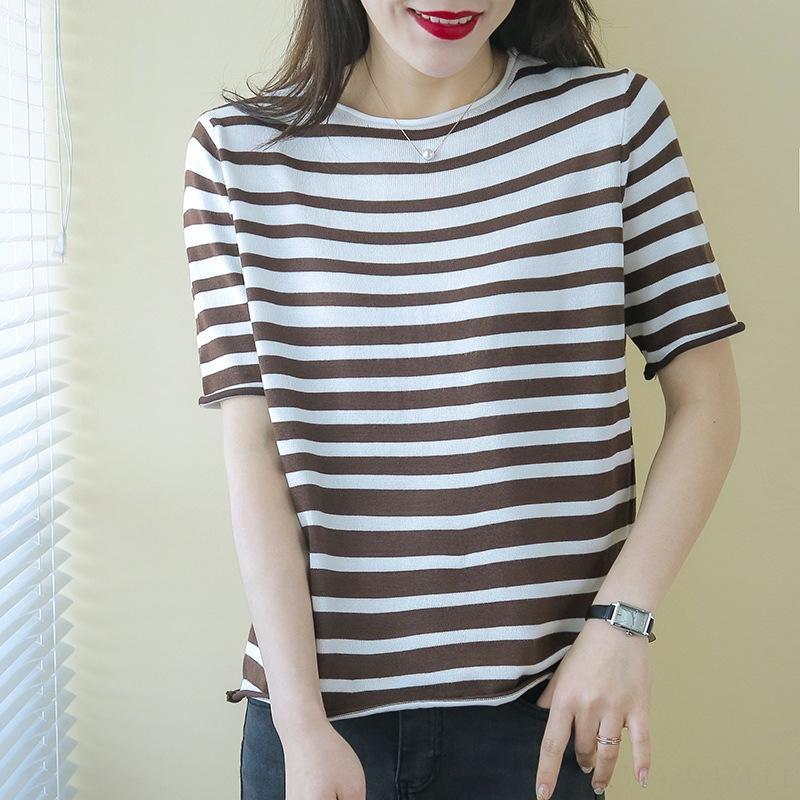 Produkte 2020 gestreifte runde Kragen gestrickt kurzärmeligen Frauen in modischen T-Shirt T-Shirt Kleidung der Frauen