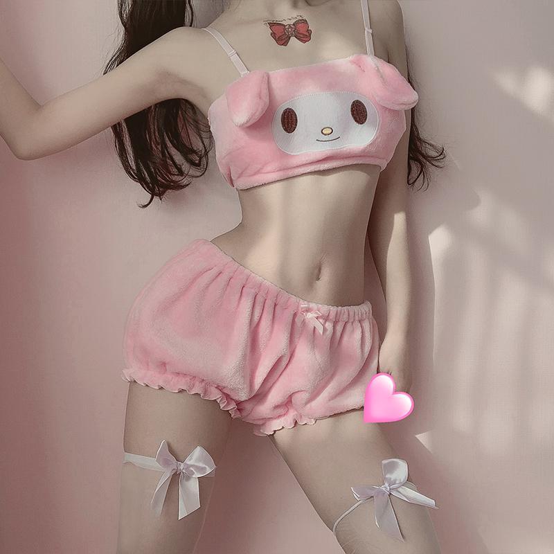 Tube Kwaii velours top et culotte Set pour les jeunes filles Sexy Anime Cosplay Costumes longues oreilles Doggy Soutien-gorge et Bloomer Rose Blanc