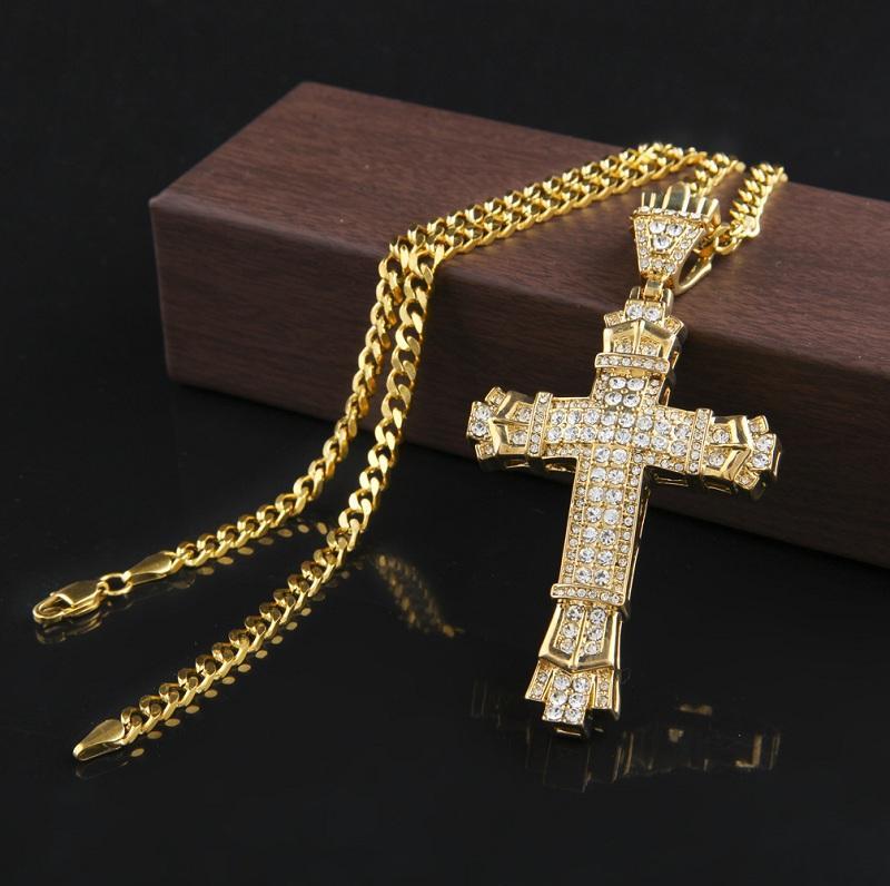 Croix Vintage Pendentif Collier hommes d'or cubain Lien chaîne Collier Glacé pendentif Hip Hop Bijoux