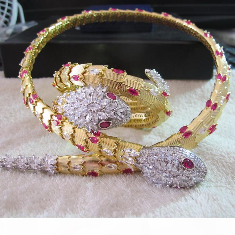 gros nouveau bracelet manchette serpent fleur design or jaune 18 carats bracelets plaqué colliers de choker ensembles de bijoux de fête design pour les femmes