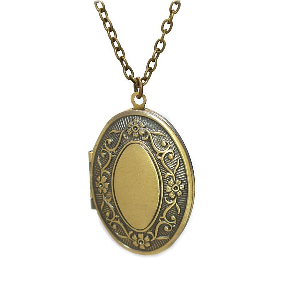 Brass Oval Retro Pattern Open able Photo Lockets Phase Box Pendant Necklace Memorial Free Chain DS-082303
