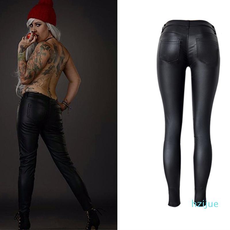 Faux Leather Pants Mulheres Elastic Zipper calças de couro Calças Plus Size 2020 Leren Broeken Roupa Slim Fit Calças Lápis