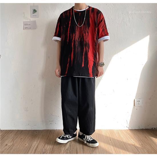 Размер камуфляж Crew Neck Футболки Мужчины Повседневная мода Верхняя одежда мужская лето Hiphop Дизайнер Тройники Street Style Plus тинейджеров