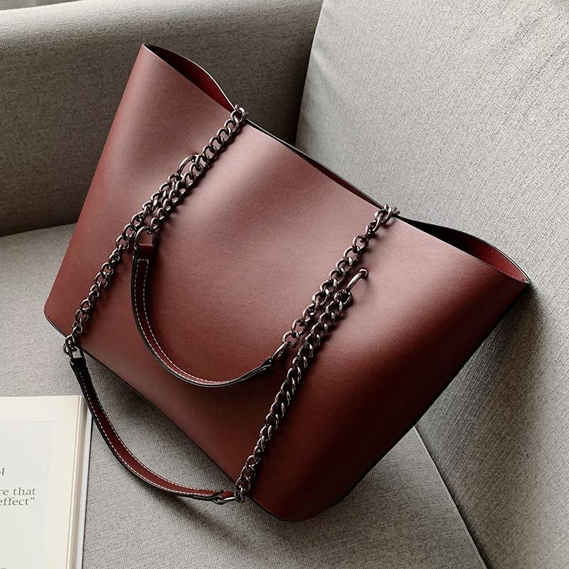 SWDF Solid Color PU Leather Shoulder Bags For Women 2020 Chain High Capacity Handbags Travel Hand Bag Female Shoulder Bag