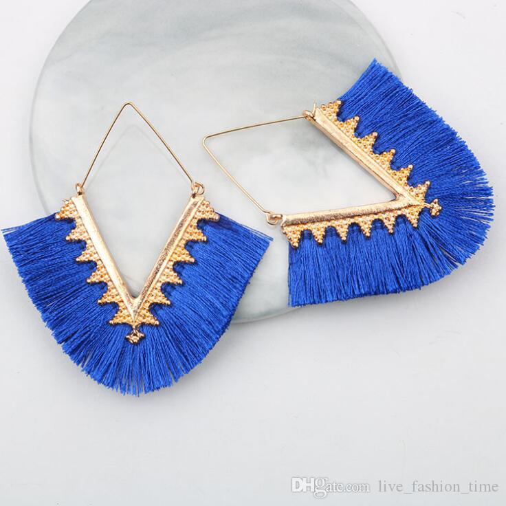 New Handmade Drop Earring For Women Bohemian Tassel Dangle Earrings Trendy Long Dangle Wedding Statement Earrings Ethnic Fringed Jewelry #6R