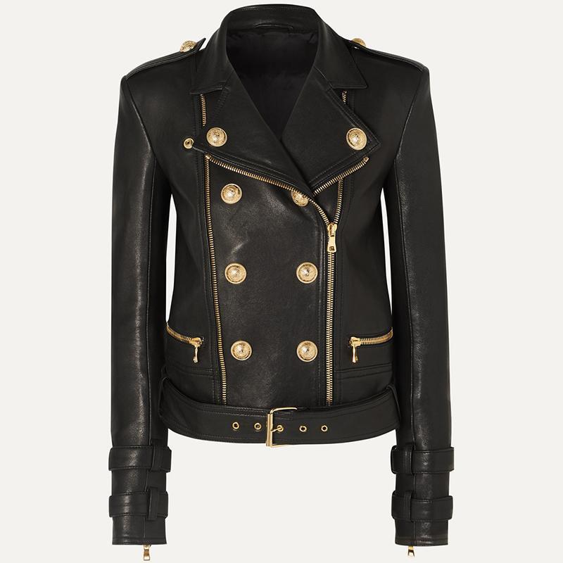 ALTA QUALITA '2020 nuovi Leone Bottoni Faux Leather Jacket giacca designer femminile Motociclista