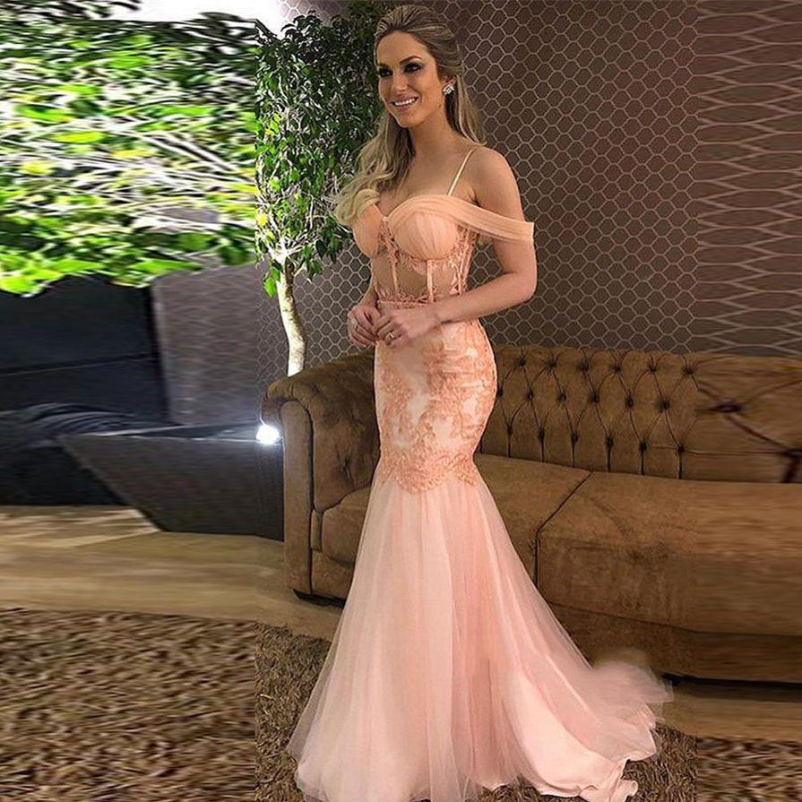 2020 جميلة الخوخ الوردي حورية البحر الرباط أثواب نرى من خلال مثير الحفلة الراقصة لونغ أثواب معطلة الكتف مخصص اللباس حزب