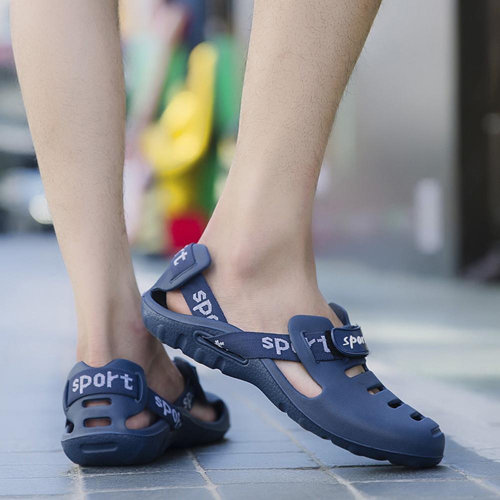 sandálias homens ocos Chinelos Moda exterior respirável Casual Praia Sandália Deslizamento-em Flats Sandals Shoes Zapatos
