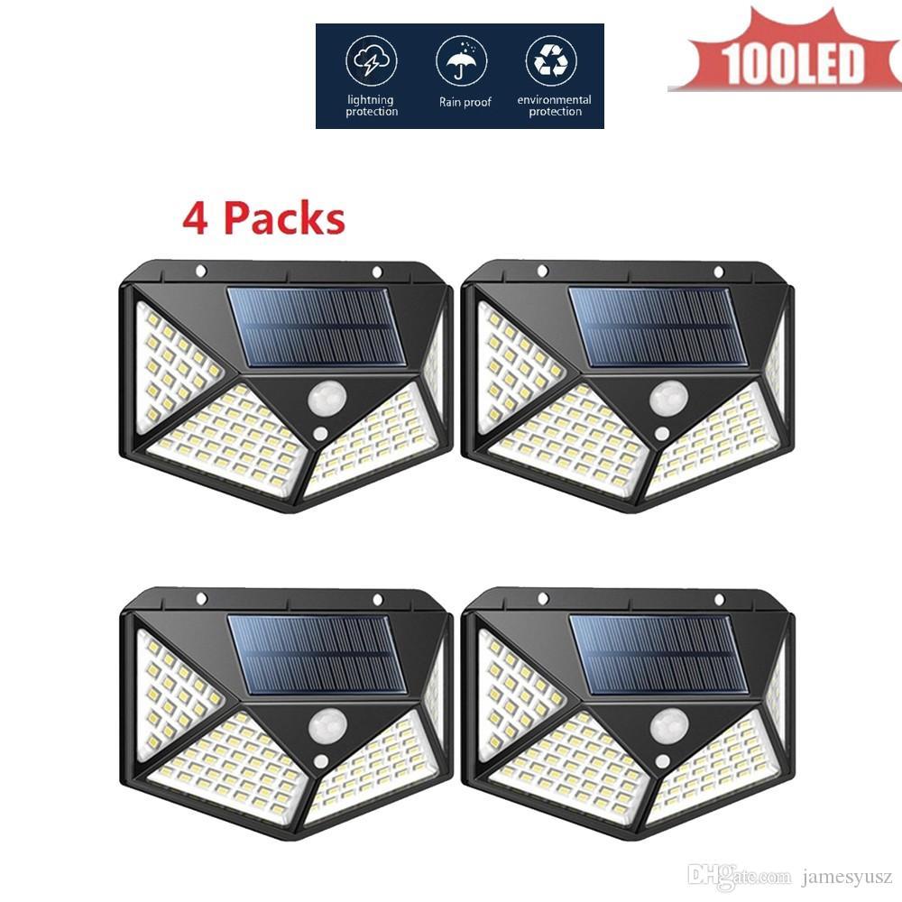 LED Motion Sensor Wall Light Waterproof 100 LED Wall Light Solar Powered LED PIR Sensor Lamp for Walkway Fence Garden 4 sided 270°