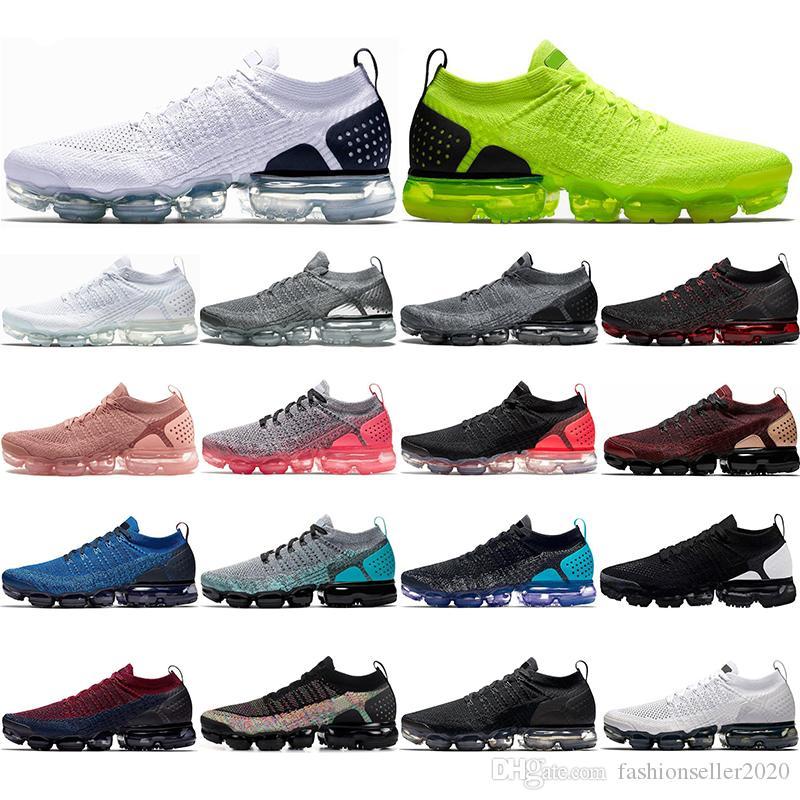 Nike Air Vapormax Flyknit 2.0 Con calcetines Knit 2.0 Fly 1.0 Hombres Negro Metálico dorado VOLT Dusty Cactus Mujeres zapatillas de deporte para hombre zapatillas de deporte Zapato
