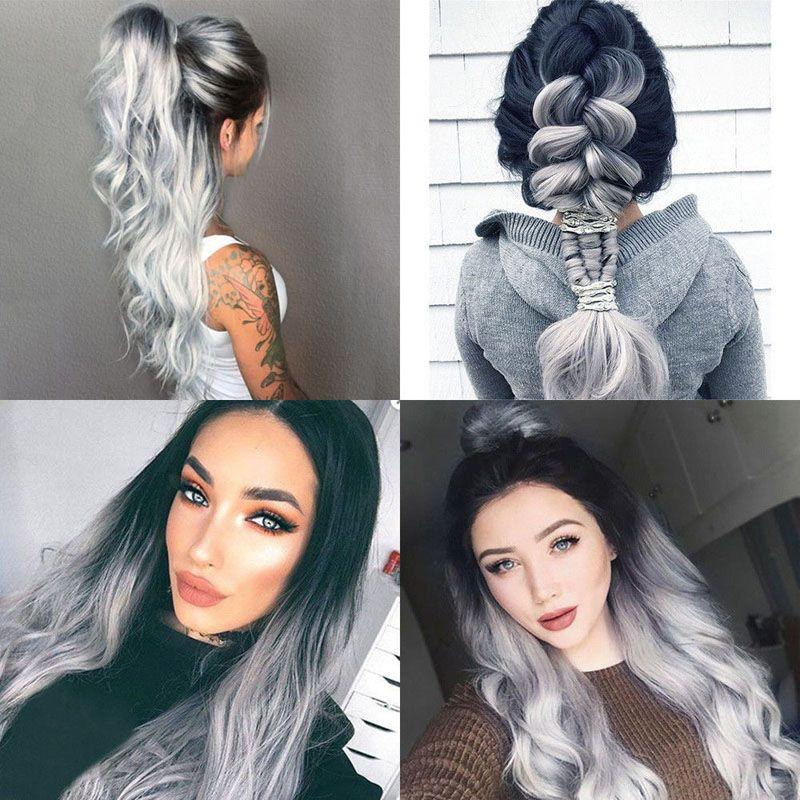 Nouveau Blanc Gris Argent Femmes Beauté perruque synthétique résistant à la chaleur des cheveux longs ondulés Perruques Livraison gratuite