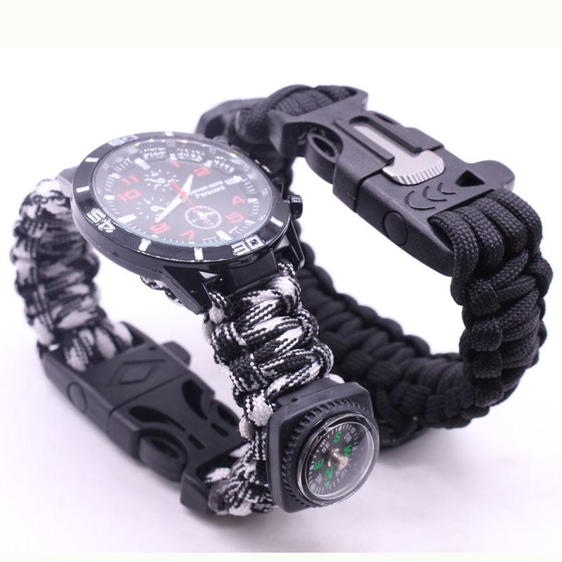 EDC Multi Tools Tactical Camouflage Outdoor survival watch bracelet compass Rescue Rope paracord Camping equipment (20)