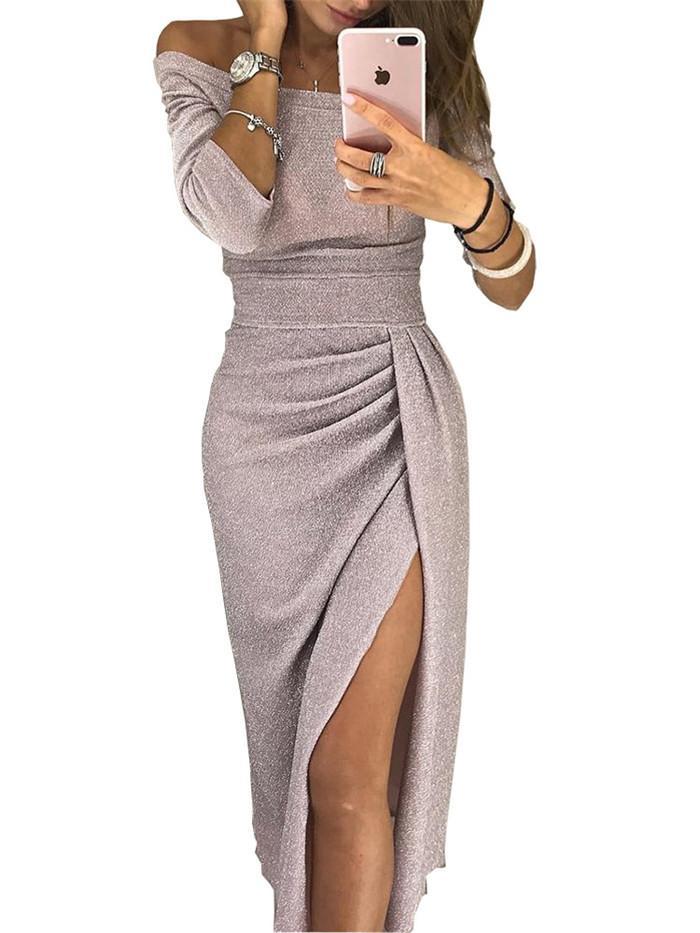 2019 Women Dress Slash collo dell'anca del pacchetto Split sexy paillettes abiti da donna benda Party Night Club Metà di-Vitello Dress 181219