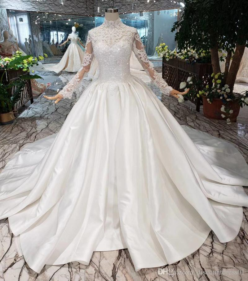2019 New Ball Gown Wedding Dresses Lace Satin Sequins Beading Beads Custom High Collar Vintage Palace Wedding Gowns Long Sleeves Vestidos