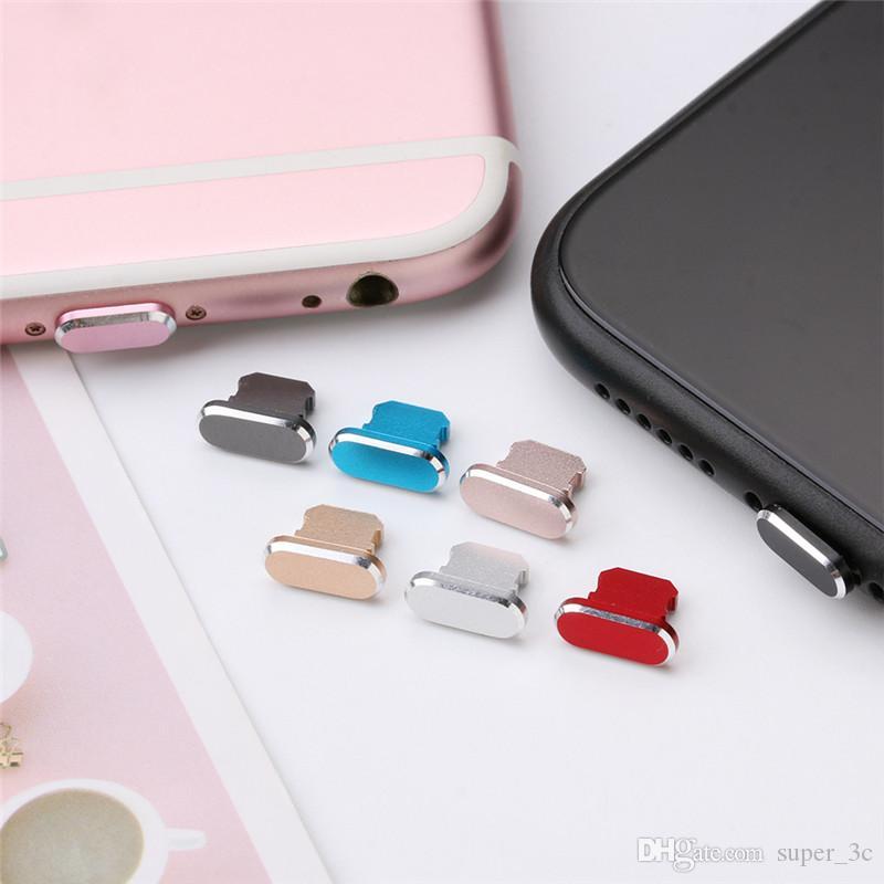 Renkli Metal Anti Toz Şarj dock Tak tıpa Cap Kapak iPhone 11 Pro Max XS XR 8 7 Artı Cep Telefonu Aksesuarları
