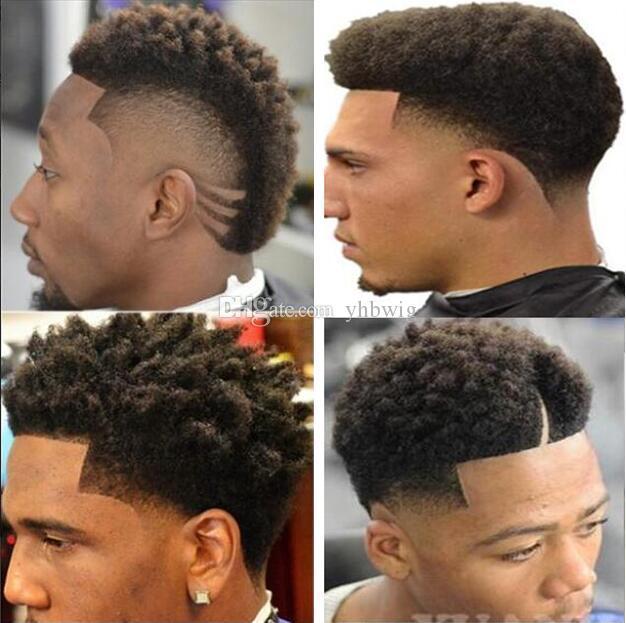 Hombres Sistema de cabello Peluca Pelucas Peluquerías Afro Curl Toupee Completo Encaje Suizo Brown Negro # 1b Malasia Virgen Remy Pelo humano Reemplazo para hombres negros