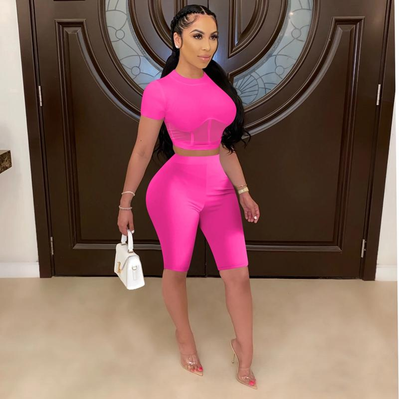 Two Peice Set for Women Summer Biker Shorts Set High Waist Matching Sets Bodycon Sexy 2 Piece Club Outfits for Women Tracksuit