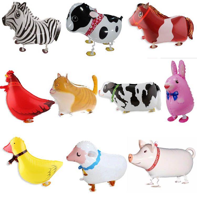10pcs Walking Farm Animals stagnola Balloons Pig / cane / gatto / pecore / scuro / mucca / cavallo / pollo / coniglio di compleanno di Natale giocattolo decorazione del partito