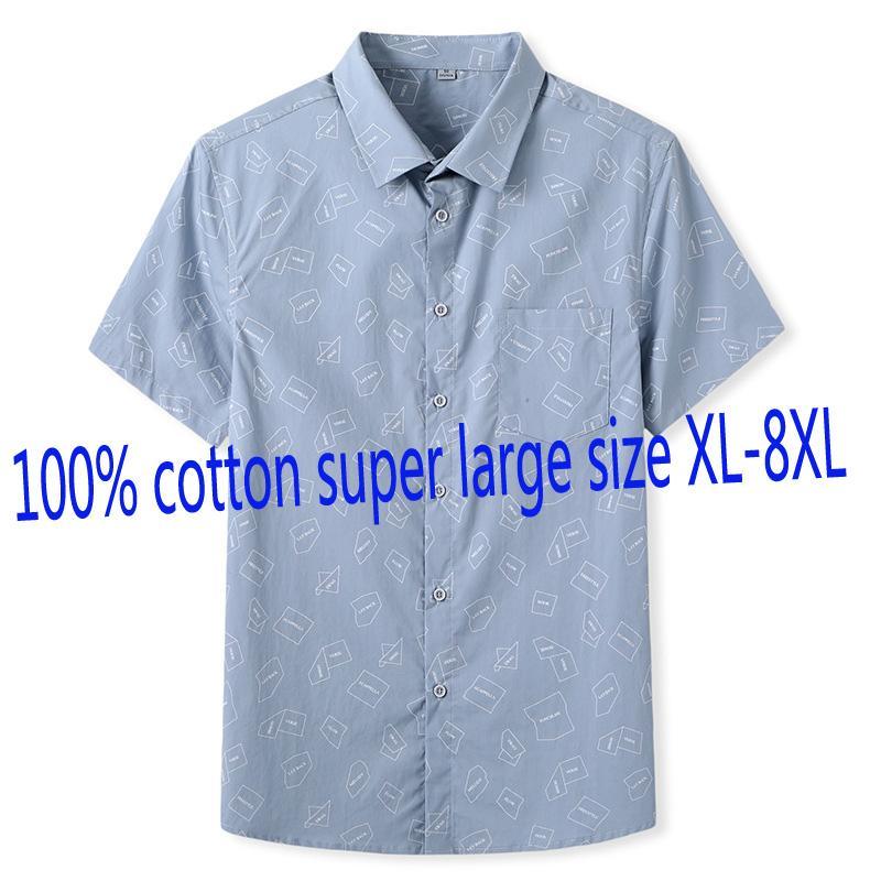 Nuovo modo di arrivo Suepr Grande Uomo Manica Corta Estate allentato 100% cotone camice casuali Print Plus Size LXL2XL3XL4XL5XL6XL7XL8XL