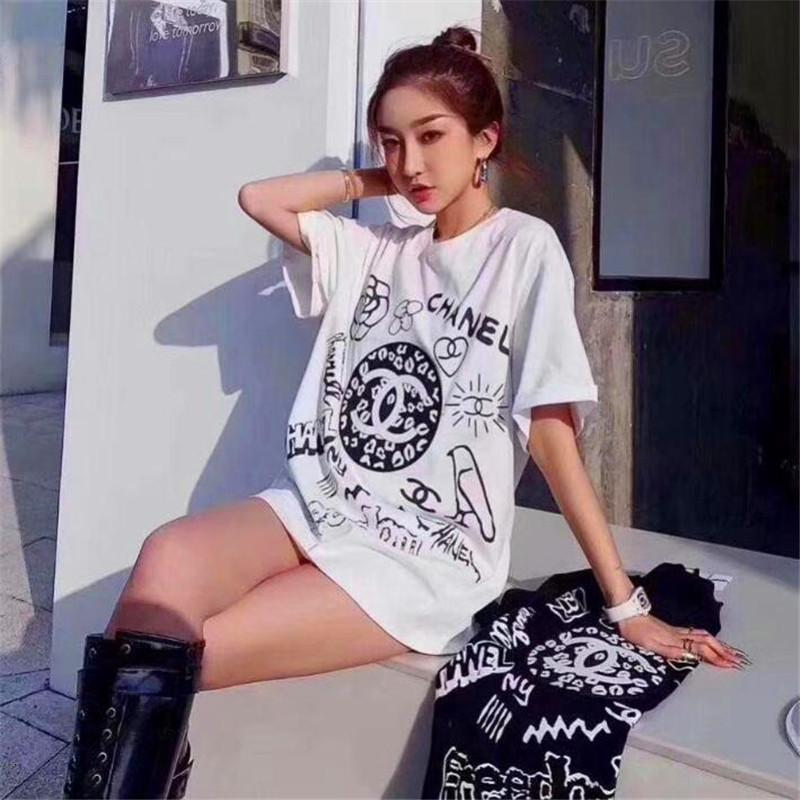 new cotton fabric is soft and breathable, and the web celebrity T-shirt with camellias is round neck and short sleeves FJZ9
