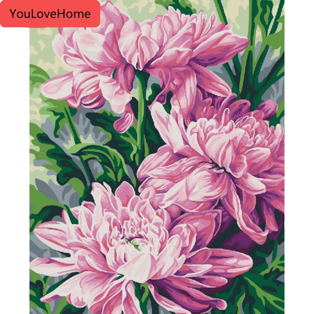 Photos By Numbers Fleur Décoration Peinture à l'huile par numéros Kits dessin toile peinte à la main Diy cadeau Image bricolage
