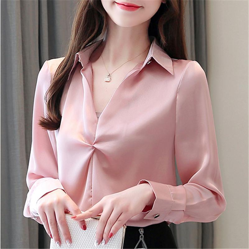 Shirt Donne seta di modo delle donne con scollo a V Satin Camicette Camicie donna elegante collo a V camicette Maglietta extrasize donna a maniche lunghe camicetta