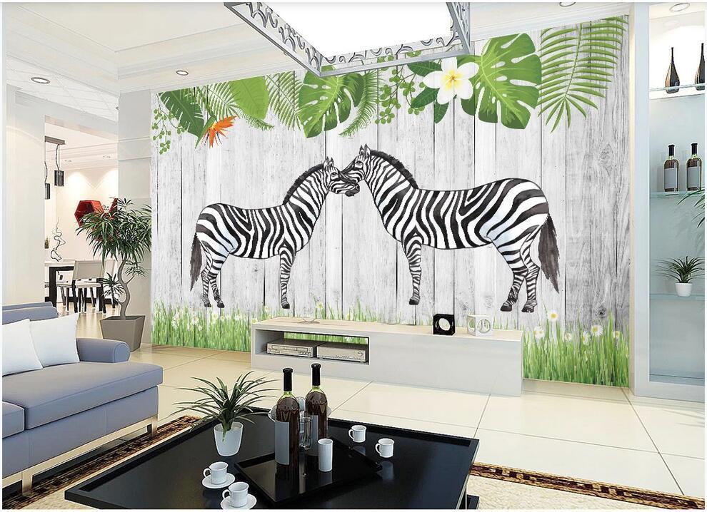 çayır ahşap ev dekorasyonu duvar sanatı 3d çıkartmalar üzerinde zebralar WDBH 3d duvar kağıdı özel fotoğraf İskandinav arka plan duvar