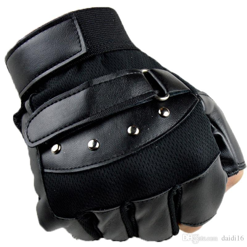 New Men's Cycling Gloves Leather Half Finger Gym Gloves Running Mitts Cycle