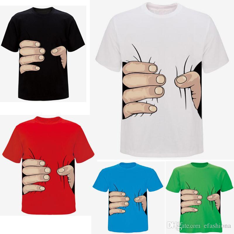10 colores de alta calidad parejas vestido de la mano grande 3D camiseta hombre mujer ropa impresión caliente camiseta para hombre camiseta de algodón anti fading S-XXXL XZ022