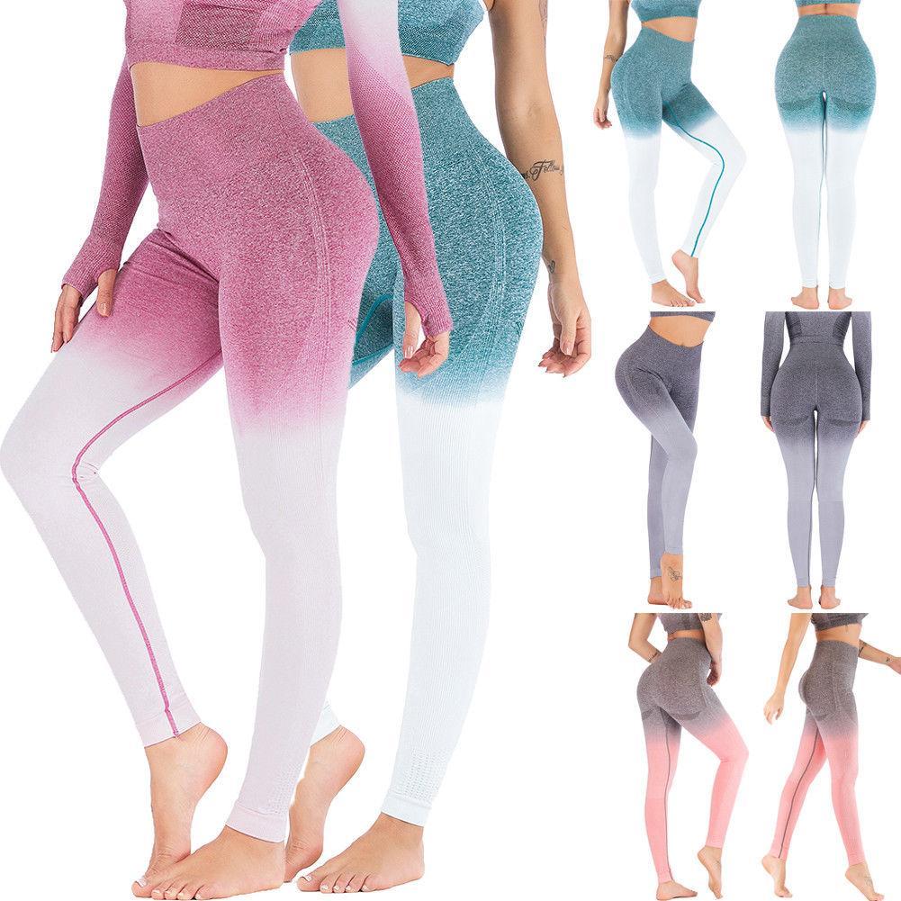 Frauen Sport Gym Yoga Pants Compression Nahtlose Patchwork Farbe Hosen Stretchy High Waist Run Fitness Leggings Hip Push Up