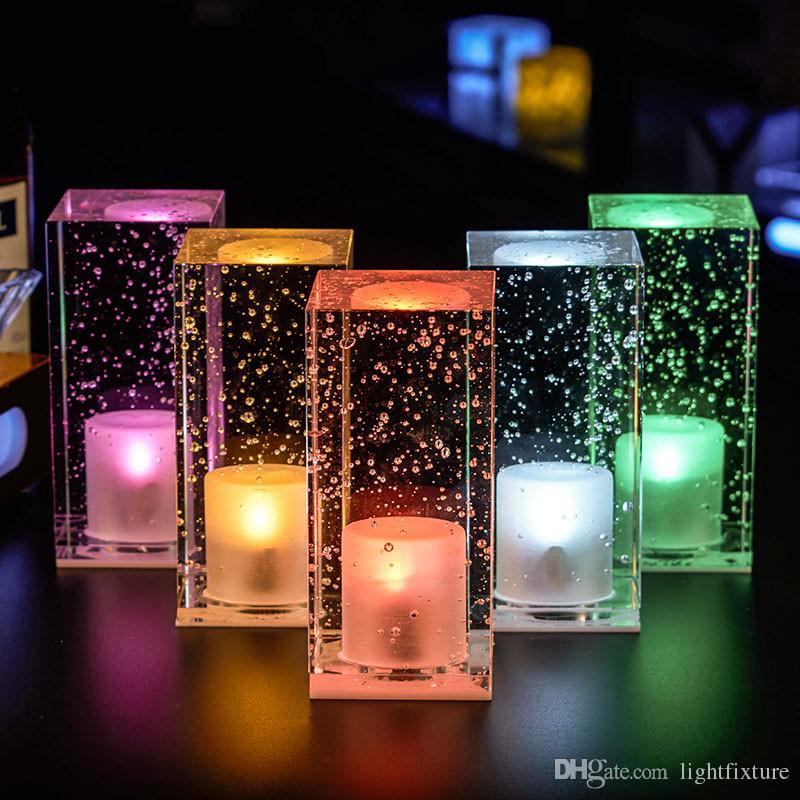Creative Bar Crystal Atmosphere Night Light con logotipo personalizado Recharging Coffee Shop Restaurant LED Lámpara de mesa