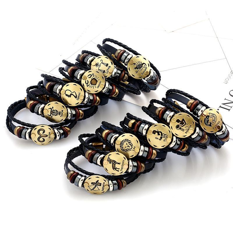 2020 New Classic Twelve constellation charm horoscope bracelets leather bracelet punk jewelry 12 styles