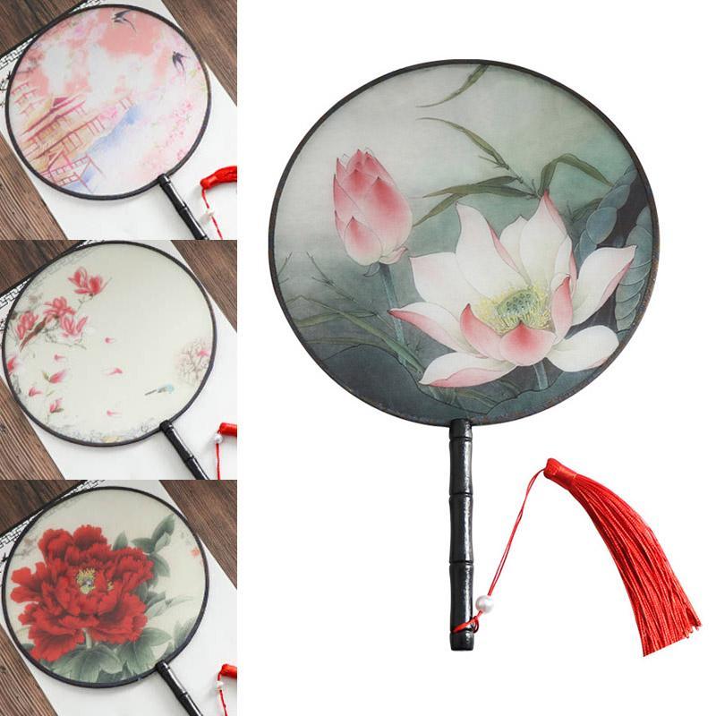 Дамы танцы Home Decor Женский Вышивка Цветок Вентилятор Классическая Урожай Translucence Китайский стиль круглые Вентиляторы Малый Шелковый вентилятора