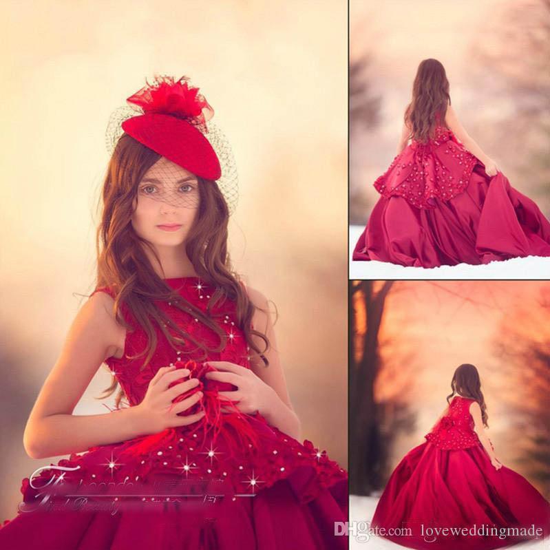 Encantador Borgonha Meninas Pageant Vestidos Lace Appliqued Frisado Kid Formal Usa Custom Made Aniversário Meninas Usa