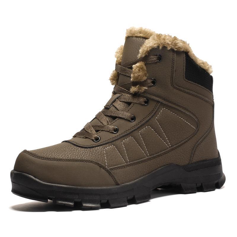 Homens Botas Anti-derrapante Sapatos de couro de homens Popular Comfy Primavera Homens Outono Sapatos curto Plush neve Botas sola homme chaussure