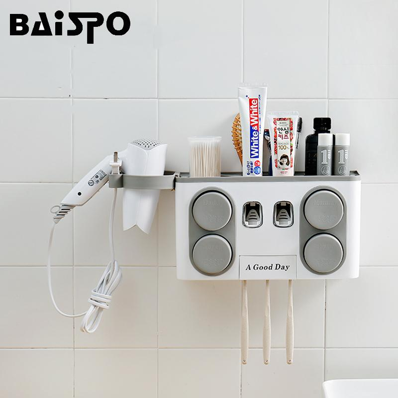 BAISPO Bathroom Set Accessories Toothbrush Holder Automatic Toothpaste Dispenser Suction Cup Wall Mount Bathroom Storage Box T200506