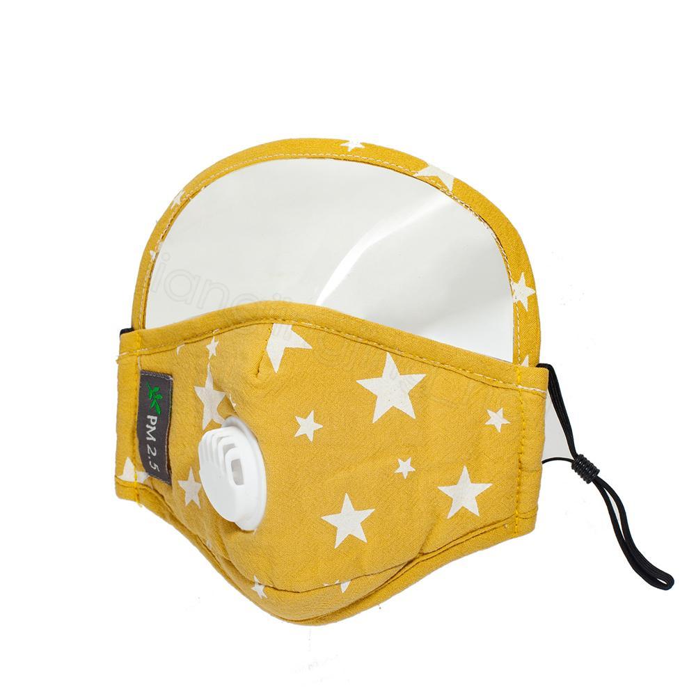 1 çocuk yıldız baskı 4styles 2 nefes vana pamuk açık PM2.5 koruyucu çocuk maskeleri ile tam yüz ağız kapağı maske FFA4192-3