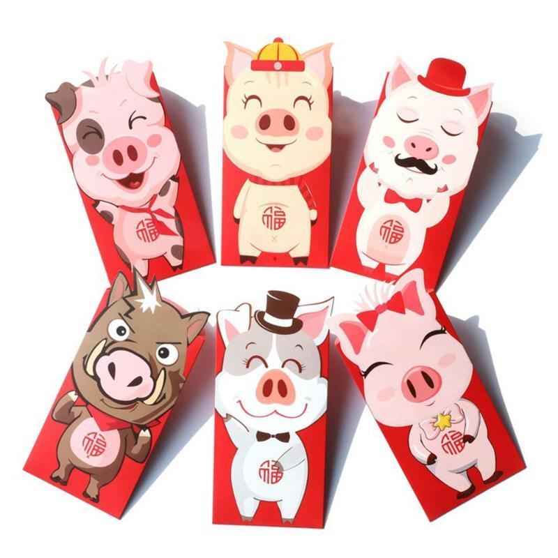 Envelopes 6pcs Festival Acessórios Pacotes Dinheiro Dinheiro vermelho chinês Envelopes Pig Red Melhores desenhos animados Wishes