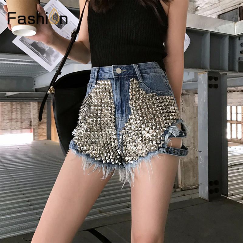 Women Black Rivet Ripped Holes Jeans Shorts Street Wear High Waist Girls Fringe Denim Hot Shorts Ladies Summer Sexy Femme