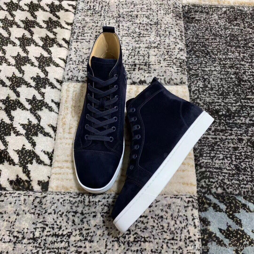 Sneakers en cuir en daim bleu marine Chaussures Supérieur Confort Rouge Chaussures de fond pour femmes, Hommes Haut Top Bonne Qualité Casual Chaussures à pied