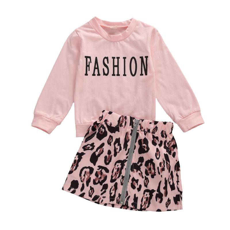 2Pcs/Set Toddler Kids Baby Girl Fashion Letter T-shirt Top Leopard Mini A-line Skirt Summer Outfits (Pink, 3-4 T)
