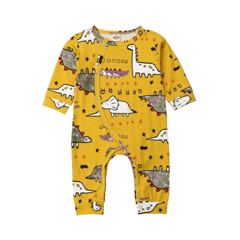 Autumn Newborn Baby Boy Girl Dinoaur Print Romper Bodysuit Jumpsuit Playsuit Outfits 1PCClothes 0-18M
