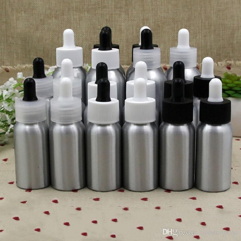 30ML 50ML 100ML Aluminium e Bouteilles pour pipettes à réactifs liquides Pipette pour les yeux Aromathérapie Huiles Essentielles Parfums bouteilles
