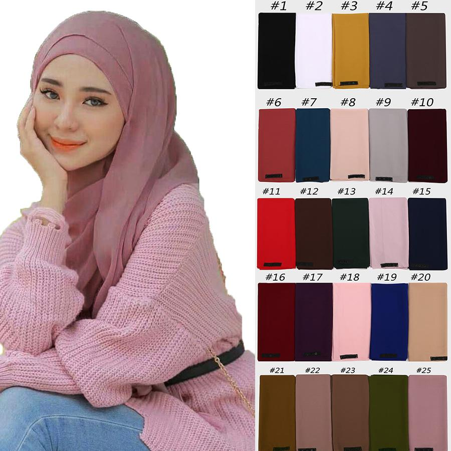 New women plain bubble chiffon scarf hijab wrap solid color shawls convenient with button headband muslim hijabs scarves/scarf