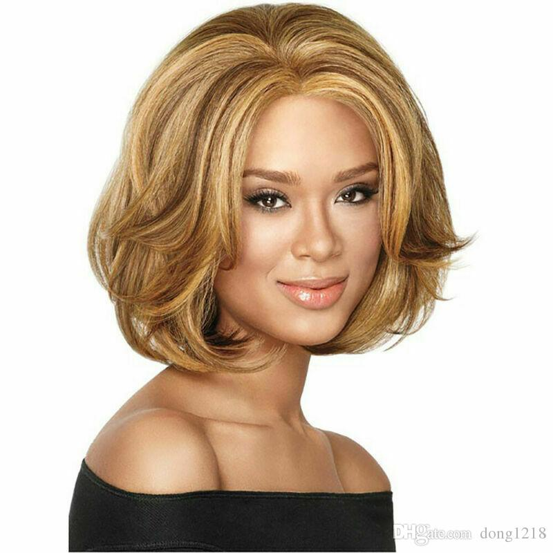 Dames de la mode sexy courte perruque Full Brown Blonde Synthétiques Straight Party Curly